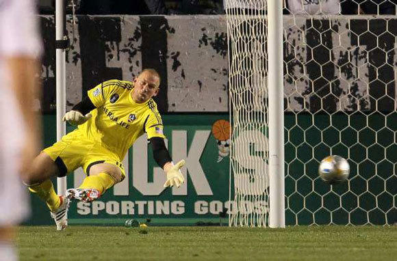 The ball gets past Galaxy keeper Josh Saunders during a March 10 loss to Real Salt Lake.