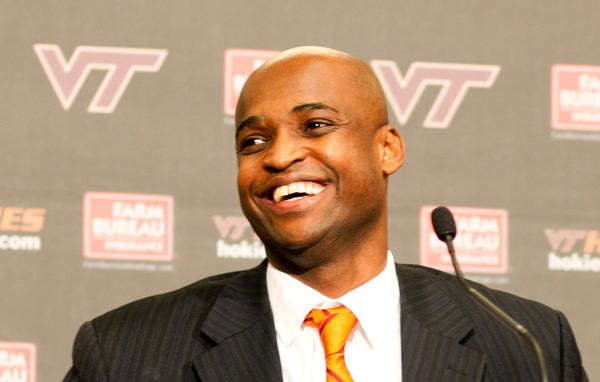 May 1, 2012; Blacksburg, VA, USA; Virginia Tech new basketball coach James Johnson speaks at a press conference in Blacksburg.  Mandatory Credit: Kyle LaFerriere-US PRESSWIRE