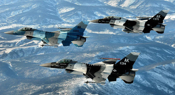 These F-16 Fighting Falcons, assigned to the 18th Aggressor Squadron at Eielson Air Force Base in Fairbanks, are single-engine fighter jets with ground-attack capabilities. Alaska's F-16s typically simulate enemy aircraft during Red Flag training exercises, in which they fight mock air wars against units rotated to the state. The Air Force recently proposed moving the 18th from Eielson to Joint Base Elmendorf-Richardson, a move fiercely opposed by many Fairbanks residents.