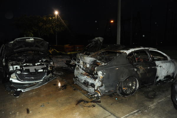 Fire damaged seven vehicles in an arson attack at Rick Case Honda in Davie.
