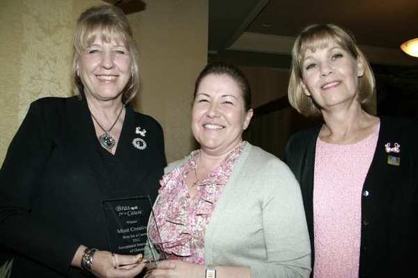 Awarding the 'Most Creative Bra' is Kathy Lefkovits (left) joined by Soroptimist and Committee Member Mary Lotz (right) to Glendale Police Dept. Lt. Lola Abrahamians 'Cancer in Custody.'