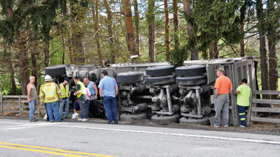 The driver of a coal truck was not injured in this accident Tuesday.