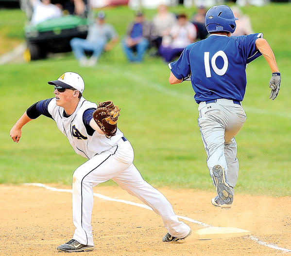 Waynesboro's Ethan Klink, right, is out at first base as Greencastle's Jake Crist completes a double play in the top of the fourth inning Tuesday.
