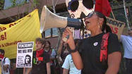 SAN DIEGO -- A loose-knit coalition of labor groups, students and Occupy San Diego activists rallied for workers' rights Tuesday in downtown San Diego, and blocked B Street for a short time.