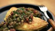 Cheese omelet with tomatillo sauce