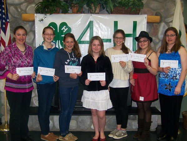 Emmet County 4-H members receiving scholarships to Exploration Days at MSU this summer include (from left) Katherine Watchorn, Shannon Brown, Mary Louise Mooradian, Kayla Rose, Isabel Ruemenapp, Casey Carter and Megan Watchorn.