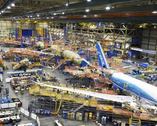 The production line at the Boeing 787 factory in Everett, Wash. The Commerce Department said Wednesday that orders for aircraft plummeted nearly 50%.