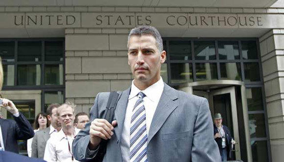 Andy Pettitte leaves the federal courthouse in Washington on Wednesday after testifying in the Roger Clemens trial.