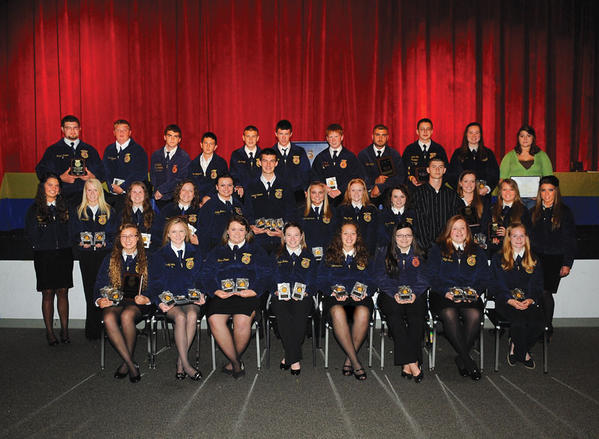 George Rogers Clark High School students recognized during the annual FFA Banquet and Awards ceremony Tuesday evening at George Rogers Clark High School are, front row from left, Johnna Scott, Cassidy Potts, Hanna Power, Kayla Banks, Hunter Thomas, Kylee Caudill, Caitlyn Bush and Lydia Gapp; middle row, Colbi Howard, Taylor Davidson, Haley Flannery, Laurren Strange, Betty Morris, Kendall Bowman, Haleigh Flynn, Mallory Flynn, Sierra Ford, Zach White, Katelyn Fraley, Allison Ratliff and Kata Welsh; back row, Travis Drumm, Caleb Chanslor, Robert Ford, Colton Shimfessel, Kade Sidwell, Taylor Howard,  Garry Allen Taylor, Stetson Shimfessel, Stefan Fink, Lilly Shear and Olivia White.