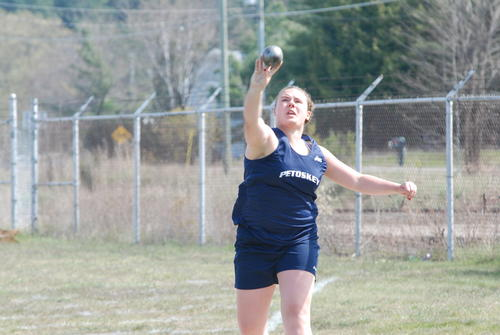 Abby Blanchard of Petoskey throws the shot put during Tuesday's Big North Conference dual meet with Traverse City West at Curtis Field. Blanchard won the shot put at 31 feet, 7 3/4 inches.