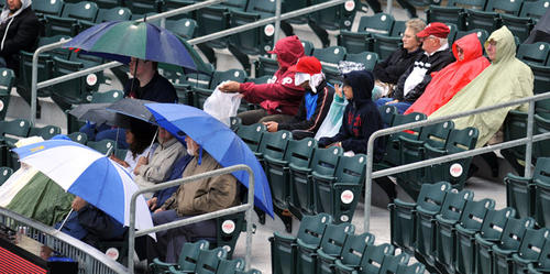 Fans take cover under rain gear at the IronPigs VS Charlotte Knights baseball game held at Coca-Cola Park on Wednesday.