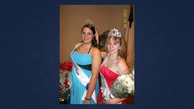 Cheyenne Saumier (left) was crowned 2012-2013 Somerset County Dairy Princess by outgoing dairy princess Courtney Brant during a coronation ceremony held Friday evening at North Ridge Church in Friedens. Both young women are juniors at Meyersdale Area High School.