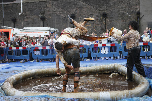 The World Gravy Wrestling Championships take place annually as part of the Pennine Lancashire Festival of Food & Culture and celebrate their 5th anniversary in 2012. In this saucy challenge, teams slide around in lukewarm gravy and attempt to wrestle on another to the ground. Team members win points for pinning the opposition down in the gravy. (worldgravywrestling.com)