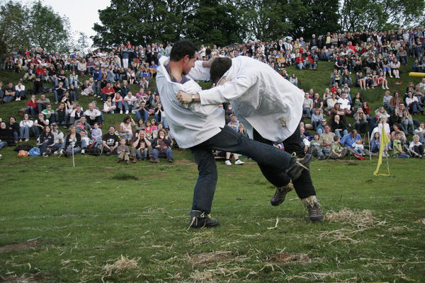 Started by local barrister Captain Robert Dover in 1612, the annual Cotswold Olimpicks attracts thousands of spectators and features some well-known countryside games such as tug-of-war, obstacle races and wrestling as well as a few stranger events - including shin-kicking. The two contestants first fill their trouser legs with straw - to help reduce the pain ¿ before holding one another¿s arms and kicking each other wearing steel toe-capped boots. The loser is the competitor that gives in to the pain and bruising first. 2012 marks the Olimpicks¿ 400th anniversary, so expect some special celebrations this year.  (olimpickgames.co.uk)
