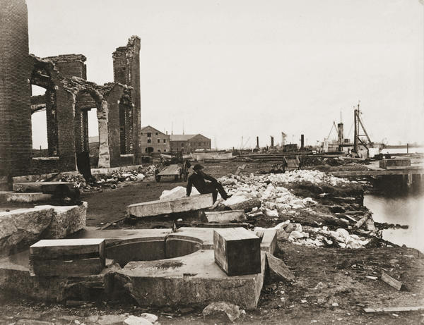 This photo by George Barnard shows the ruins of the Gosport Navy Yard after Confederates burned it on May 10, 1862.
