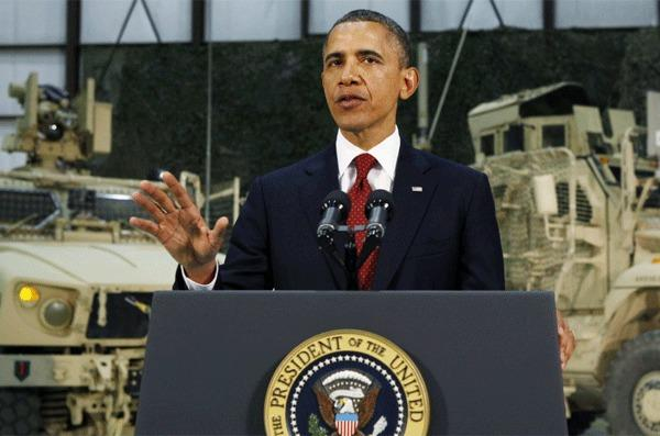 President Obama delivers an address to the American people on U.S. policy and the war in Afghanistan during his visit to Bagram Air Base in Kabul, Afghanistan.