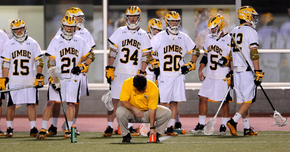 UMBC's sideline reacts to Albany's 12th goal of the game, which was scored in the third quarter.