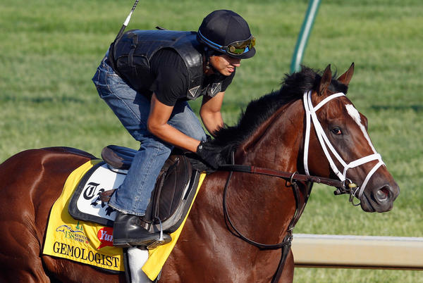 Gemologist trains on the track in preparation for the 138th Kentucky Derby at Churchill Downs.