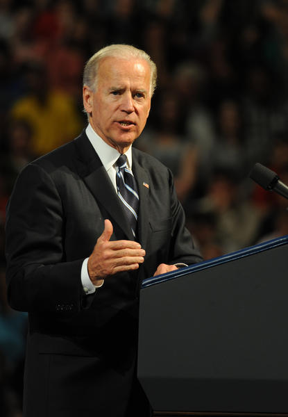 Vice President Joe Biden gives a lecture to a packed Kirby Sports Center at Lafayette College Wednesday evening. It was part of the college¿s Lives of Liberty Lecture series for 2011-12.