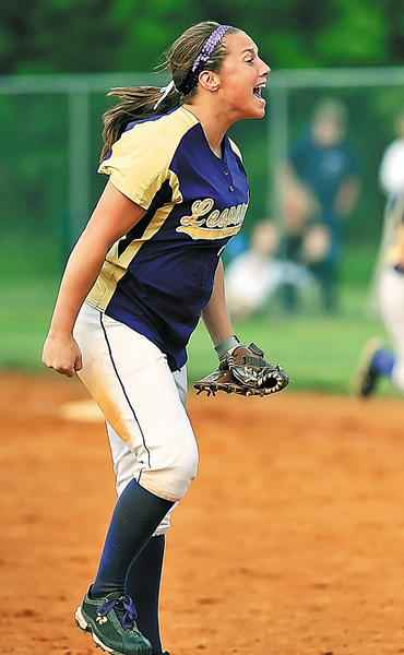 Smithsburg pitcher Cara Ferguson reacts to the final out made against Clear Spring on Wednesday.