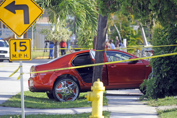 Lauderhill police are investigating a shooting on NW 35 avenue where a man was found shot inside this vehicle.