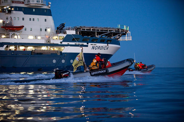 Greenpeace activists intercepted and boarded the Shell-contracted icebreaker Nordica to protest their view that oil majors have destructive plans to start drilling in the pristine Arctic region.