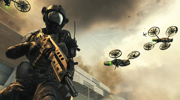 "Unlike previous ""Call of Duty"" games, ""Black Ops 2"" takes place predominantly in 2025, when those radio controlled helicopters the sell at the mall finally take over."