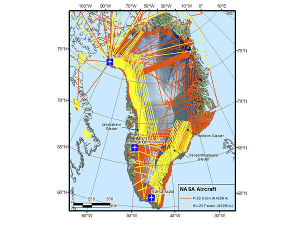 Map of Greenland with flight lines for both aircraft supporting the Arctic 2012 campaign. The planes will be based out of Thule and Kangerlussuaq, Greenland from mid-March through mid-May in 2012. On this map, the orange lines represent planned flights for the P-3B aircarft and the yellow lines represent planned flights for new IceBridge aircraft, HU-25C Guardian/Falcon. The Falcon is a new NASA aircraft, donated from the Coast Guard in November 2011.__The flights includes many more flights than is possible, including primary and secondary targets, as weather will be a factor daily. Credit: NASA/Michael Studinger