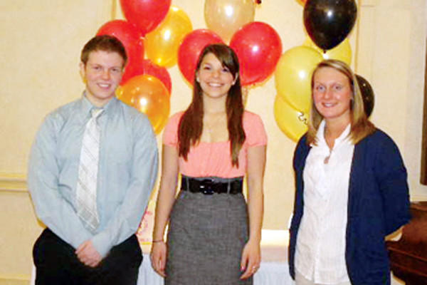 Pictured, left to right, are Georgia Yeager, AAUW Scholarship chairwoman; Luke Walkowski, Bishop McCort; Marissa Miller, Westmont-Hilltop High School; Ashlee Rose Grow, Ferndale Area High School; and Barbara Zaborowski, AAUW president.