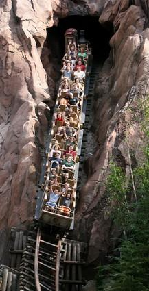 Guests ride Expedition Everest at Disney's Animal Kingdom in 2007.