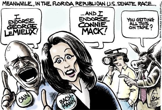 Cain and Bachmann endorse in Florida U.S. Senate race.