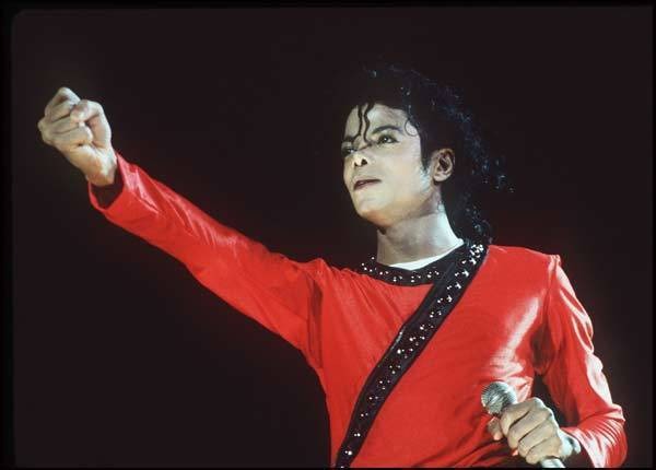 Michael Jackson performs during the Bad Tour in 1987 at Wembley Stadium, in London.