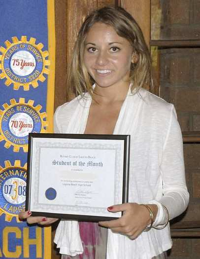 Kailani Bonin of Laguna Beach High School was named April's Student of the Month by the Rotary Club.