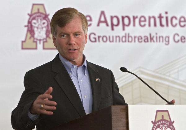 Virginia Governor Bob McDonnell speaks to the crowd at The Apprentice School Groundbreaking ceremony in Newport News on Thursday afternoon.