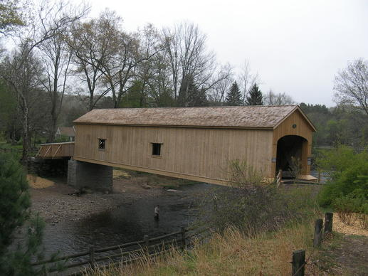 The newly renovated Comstock Covered Bridge.