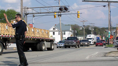 Police help direct traffic in Somerset. A fatal tractor-trailer accident on the Pennsylvania Turnpike  caused major delays Thursday afternoon.