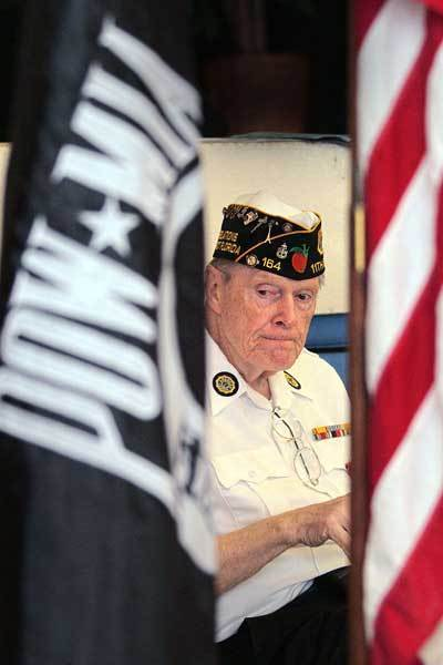 World War II veteran Tom Kaiser,  during a Legion of Honor award ceremony in Boynton Beach.  Kaiser has been on a quest to secure French Legion of Honor Medals for hundreds of South Florida veterans.
