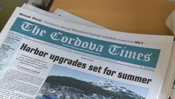"An issue of The Cordova Times waits for ""paper kids"" to come by and start their weekly delivery."