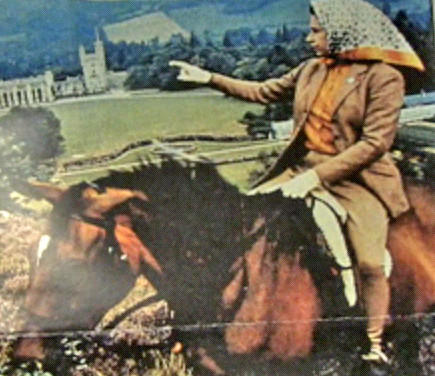This photo of a sneaker-wearing Queen Elizabeth II astride a horse was mailed to Terri Mullilcan's kindergarten class at Bester Elementary School by the British monarch's lady-in-waiting. The class had written to the queen, asking if she indeed wore sneakers.