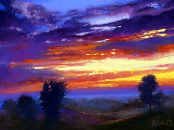Twilight Performance 2, pastel by Larry Blovits, who will be teaching a landscape art class for adults this summer through the Crooked Tree Arts Center in Petoskey.