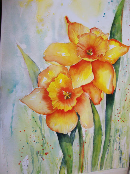 Narcissus by June Storm, watercolor instructor at Boyne Arts Collective in Boyne City and at Boyne Mountain Resorts.