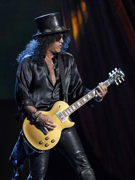 Slash plays after Guns N' Roses was inducted into the Rock 'n' Roll Hall of Fame in Cleveland last month.