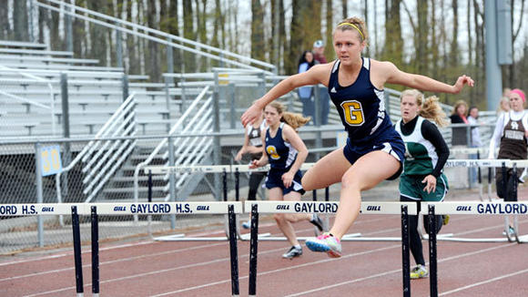 Senior Megan Carlson continued her strong season in the hurdling events for the Blue Devil girls.