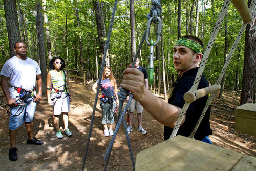 Go Ape is a tree top interactive adventure in Freedom Park in James City Co. for the ages from 10 and older folks.  The course has ziplines bridges, rope ladders and trapezes.