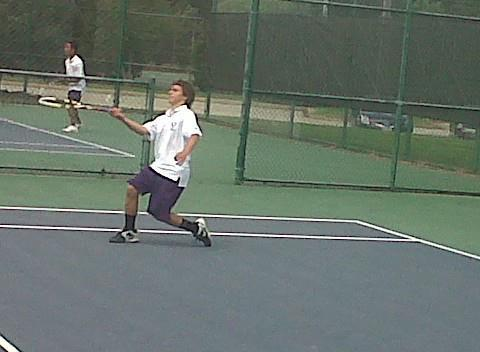 Menchville freshman Matt Strehle achieved the most notable upset of the Peninsula District boys tennis tournament's first round, beating No. 3 seed Lon Beverage of Gloucester 6-3, 6-3 at Huntington Park.