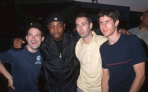 Chuck D of Public Enemy (2nd from left) with Adam Horovitz, Adam Yauch and Mike Diamond of Beastie Boys.