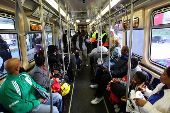 Electronic signage, hand straps and aisle-facing seats on the CTA's 5000 Series Rail Cars, in their first test with commuters April 19, 2010, before defects were discovered in the cars. (Alex Garcia/ Chicago Tribune)
