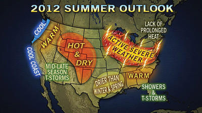 The Accu-Weather summer forecast map.