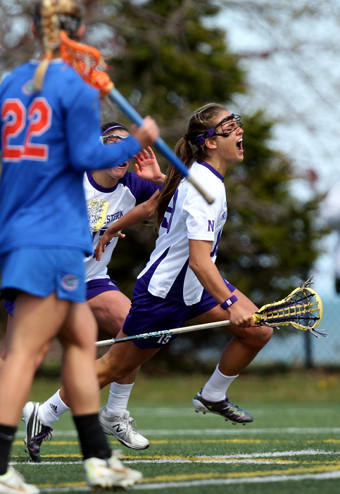Gabriella Flibotte, exulting over a goal earlier this season, was a defensive force Friday.