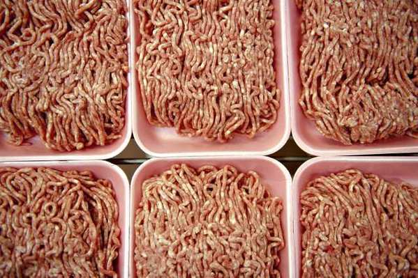 Ground beef. A California state senator is calling for an investigation into so-called meat glue, which is used to bind pieces of meat together.